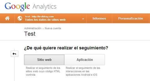 Crea un nuevo perfil para Google Analytics