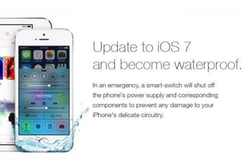Falso anuncio asegura que iOS 7 hace al iPhone sumergible