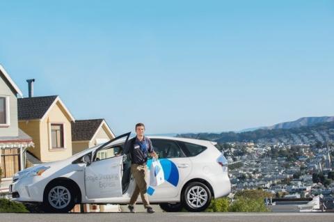 Flota de coches híbridos de Google listos para entregas