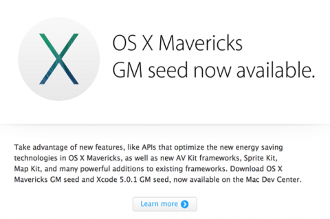 Mac OS X Mavericks lanza su versión golden master