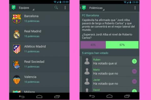 Debate sobre fútbol usando encuestas con la app para iOS y Android espolémica