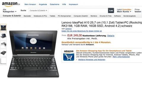 Amazon Alemania ofrece la IdeaTab A10 por 250 euros