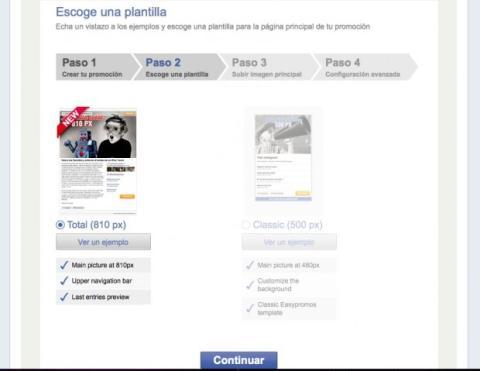 Elige el diseño para el concurso de tu página de Facebook