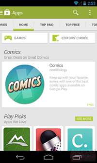 Interfaz Google Play Store versión 4.4