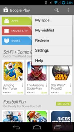Interfaz Google Play Store actual, versión 4.3