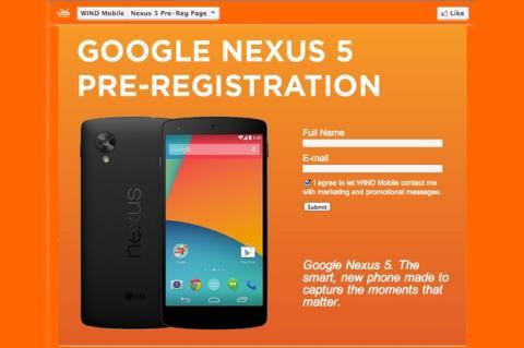 Se filtrar características oficiales del Nexus 5 en página de reserva de Wind Mobile
