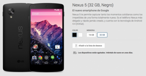 nexus 5 color negro agotado