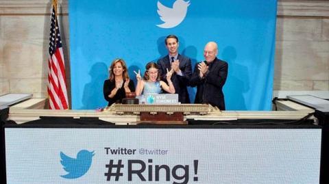 Las acciones de Twitter suben un 73% el primer día en Bolsa