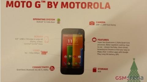 Folleto con las características del Moto G