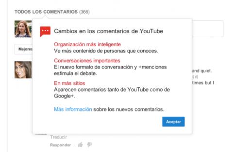 Cambios comentarios Youtube