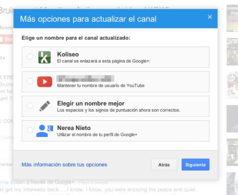 Opciones actualizar canal Youtube