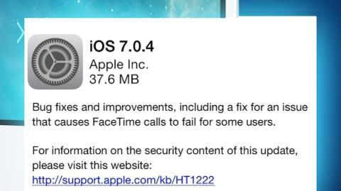 Apple lanza nueva actualización a iOS 7.0.4