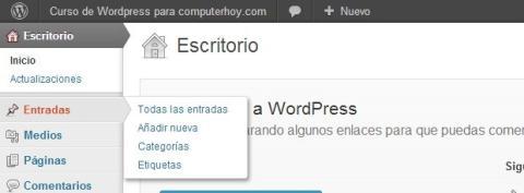 El menú lateral del Escritorio de Wordpress