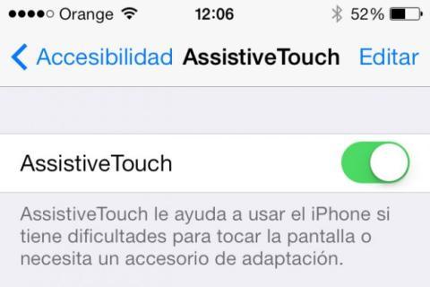 pantalla de activación de AssistiveTouch