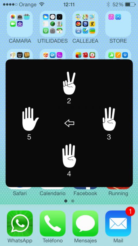 Opciones de gestos en AssistiveTouch