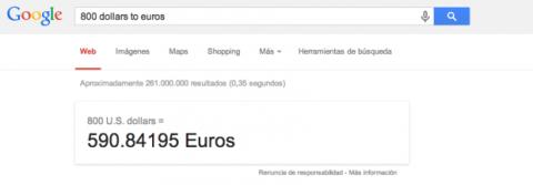 Conversión de monedas en Google