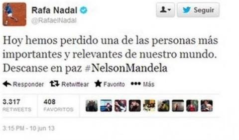 Rafa Nadal da por muerto a Nelson Mandela