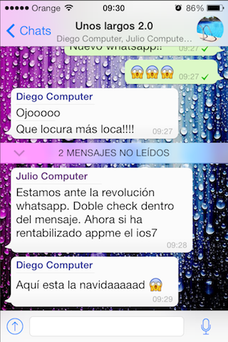 mensajes no leidos WhatsApp iOS 7