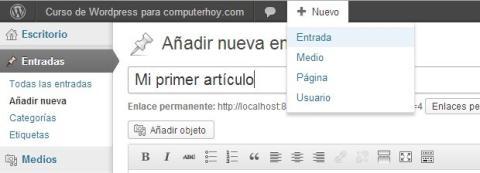 Crea tu primer artículo en Wordpress