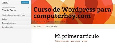 Modifica el tema predeterminado de Wordpress