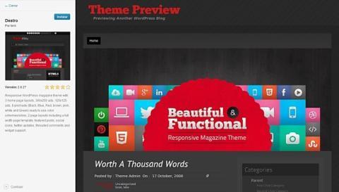 Previsualiza el tema que quieres instalar en Wordpress