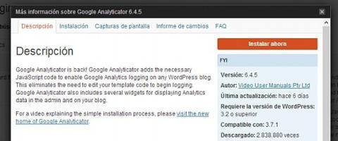 Instala un plugin para Google Analytics en Wordpress