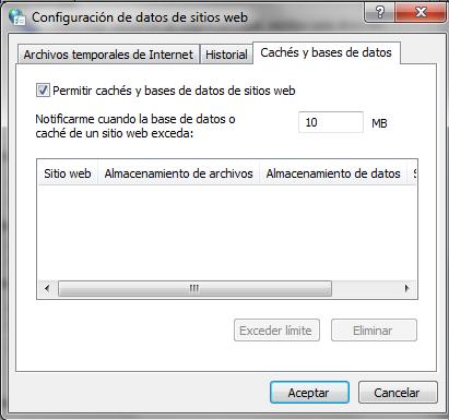 Configura cachés y bases de datos