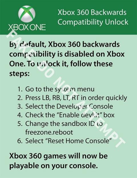 Falso truco Xbox One