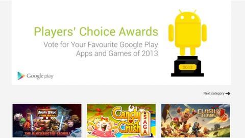Vota a los mejores juegos y apps de 2013 en Google Play