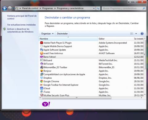 Desinstala Yahoo! Toolbar desde el Panel de control