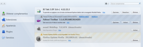 Elimina Yahoo! Toolbar de Mozilla Firefox