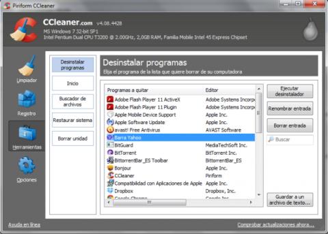 Elimina la barra de Yahoo! con CCleaner