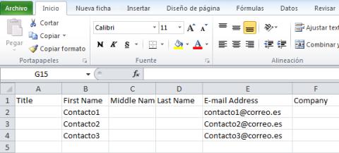 Lista de contactos en Excel