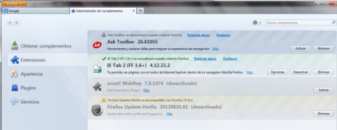 Elimina Ask Toolbar en Mozilla Firefox