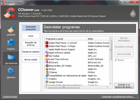 Elimina la barra de Ask con CCleaner