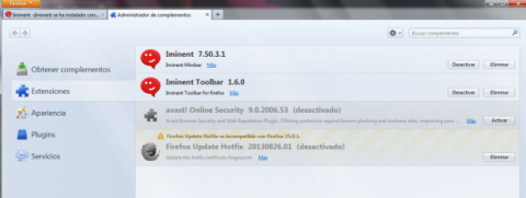Elimina Iminent Start Search de Mozilla Firefox