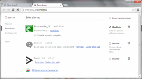 Elimina Iminent Start Search de Google Chrome