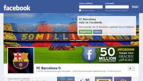 El F.C. Barcelona es el primer club deportivo en alcanzar los 50 millones de seguidores en Facebook. El Real Madrid lleva 47 millones. Cristiano Ronaldo y Messi, por encima de esas cifras.