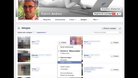 Agrega amigos a las listas de Facebook