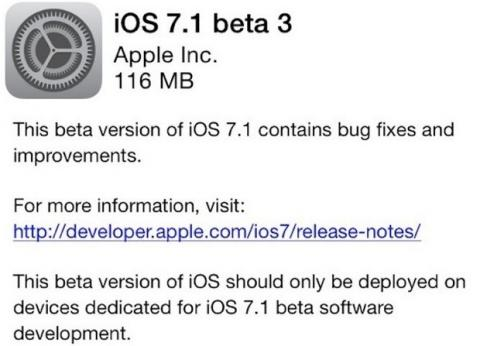 iOS 7.1. Beta 3