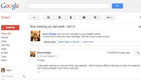 Nueva función de Gmail te deja enviar mails a usuarios de Google+