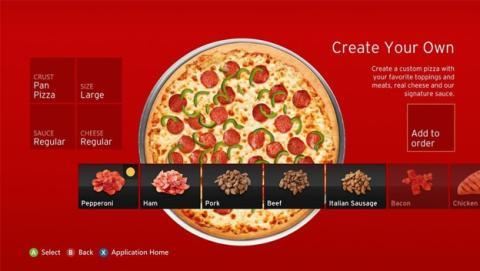 Pizza Hut vende 1 millon de $ en pizzas desde Xbox 360