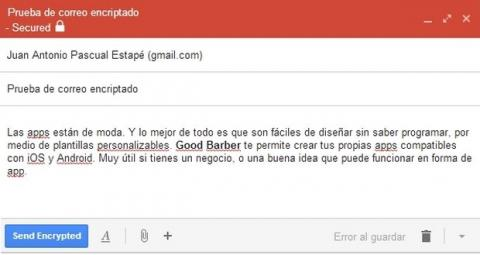 SecureGmail, encripta emails