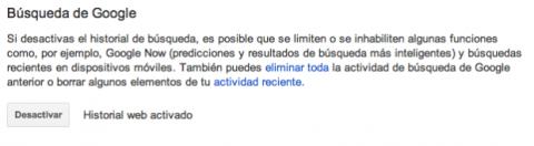 Desactivar historial web Google