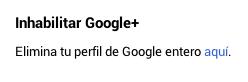Inhabilitar Google +