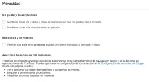 Privacidad Youtube