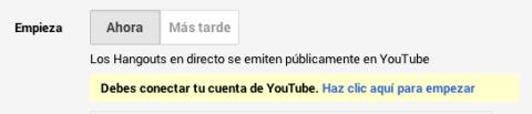 Conectar cuenta Youtube Google Hangouts