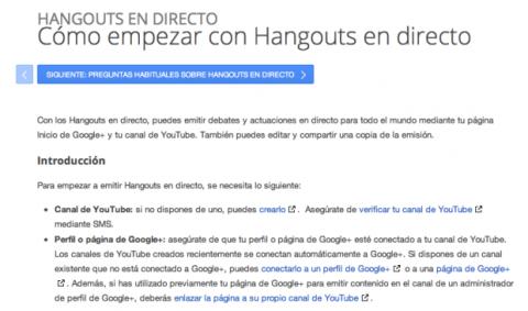 Cómo empezar con Hangouts en directo