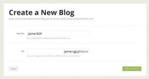 Crea un nuevo blog en Ghost.org