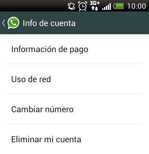 Whatsapp info de cuenta